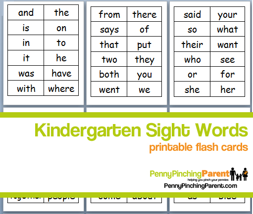 words Kindergarten Free Printable  free printable Sight Words Cards Flash sight cards