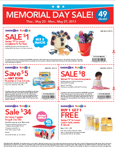 picture relating to Toysrus Printable Coupons named Printable Discount coupons: Infants R Us Toys R Us Memorial Working day