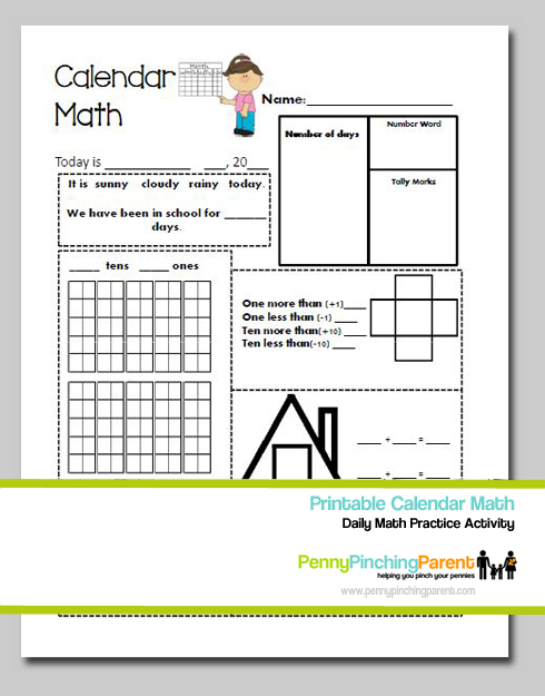 Calendar Math Kindergarten : Printables for kids daily calendar math worksheet printable