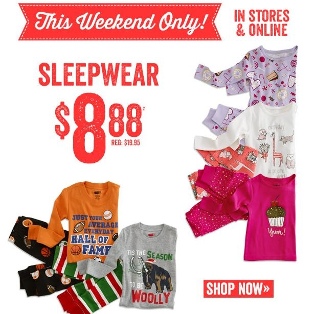 This Weekend Only: This Weekend Only: $8.88 Sleepwear At Crazy 8