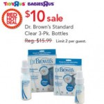 Today Only: Dr. Brown's 3-Pack Bottles For $10 At Babies R Us & Toys R Us