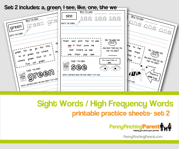 PPP Free Learning Printable: Sight Word Practice Sheets- Set 2