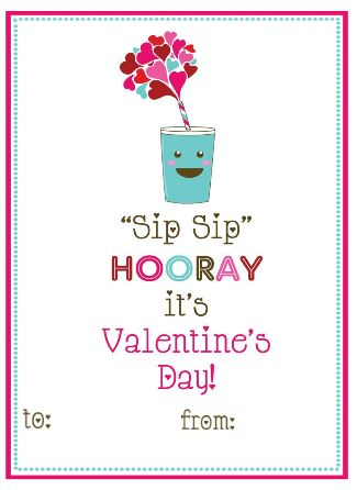 image about Sip Sip Hooray Printable identified as Printables For Children: No cost PPP Printable Valentines Working day