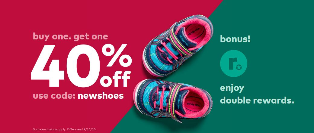 photograph about Stride Rite Coupon Printable named Young children Shoe Discounts: BOGO 40% Off At Stride Ceremony + Gain Double