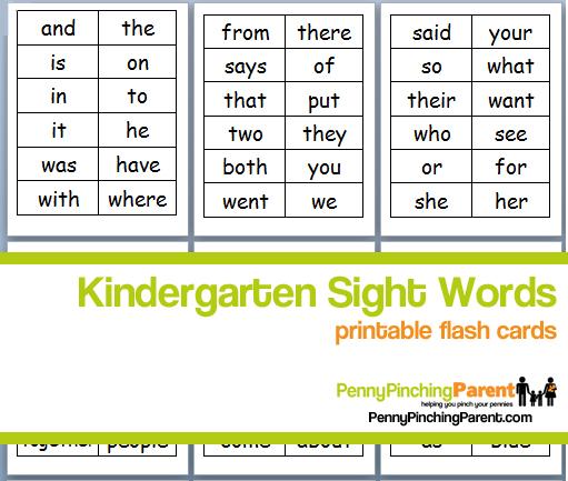 Number Names Worksheets printable kindergarten sight words : PPP Pick: Printable Kindergarten Sight Word Flash Cards